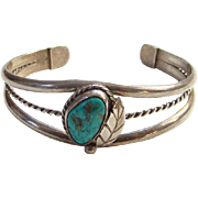 Vintage Navajo Turquoise Cuff Bracelet Signed M/G Sterling Silver Native American