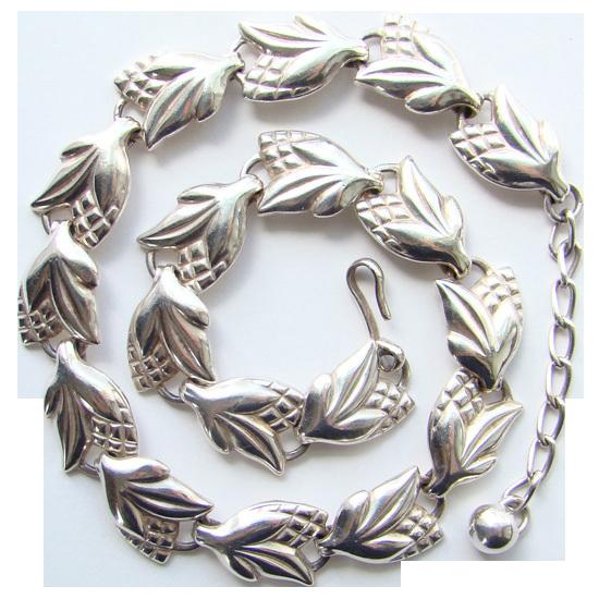 Vintage Napier Necklace Sterling Silver Floral Corn Links Beautiful Signed