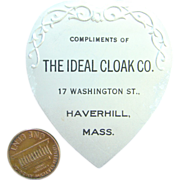 C1908 Advertising Heart Shape Needle Pin Holder Ideal Cloak Co Haverhill, MA