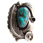 Vintage Southwestern Tribal Navajo Turquoise Sterling Silver Ring C1970s Signed Size 5.5