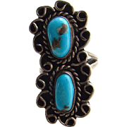 Vintage Navajo Fred Harvey Turquoise and Sterling Silver Ring Size 5 Native American Jewelry