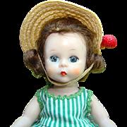 C1950s Alexander-kins Doll SLW in Green White Stripe Dress Madame Alexander