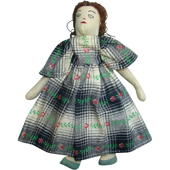 Old Cloth Doll Newspaper Magazine Pattern Embroidered Features 13 Inch