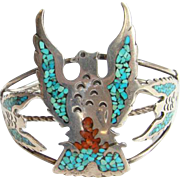 Native American Bird Cuff Bracelet Turquoise Coral Chip Mosaic Inlay Sterling Silver C1970s