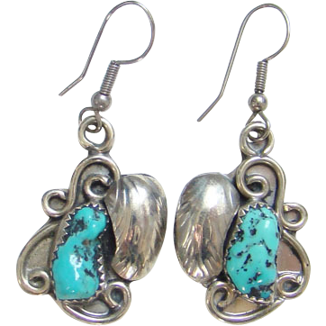 Vintage Navajo C1970s Pierced Dangle Earrings Sterling Silver Turquoise Signed LT Leroy Thompson