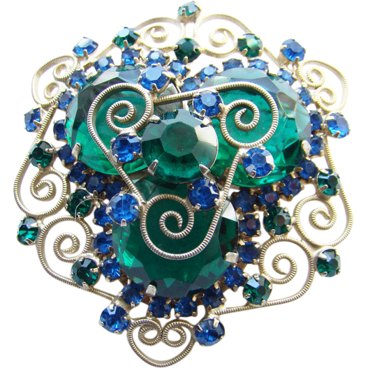 Juliana DeLizza Elster Rhinestone Brooch Blue Emerald Green Heart Scrolls