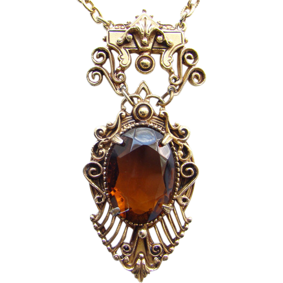 Victorian Revival Style Florenza Topaz Rhinestone Pendant Necklace Gold Tone