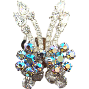 Juliana DeLizza Elster Clear Rhinestone AB Climber Clip Earrings C1960s