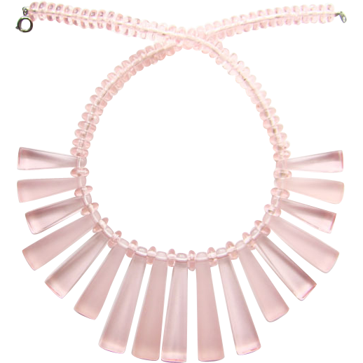 1960s Mod Era Pink Clear Frosted Lucite Bib Necklace Geometric Shapes