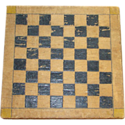 Antique Primitive 19thC Small Folk Art Painted Gameboard Checkerboard Double Side Signed