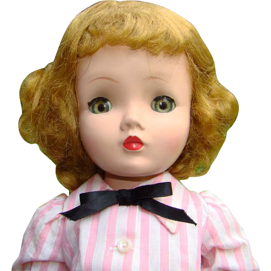 C1956 Cissy Doll in Pink Stripe Shirtwaist Dress Madame Alexander 20 Inch