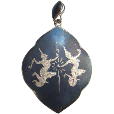 Old Amfarco Black Enamel Siam Thailand Sterling Silver Necklace Pendant Siamese Dancers