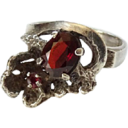Old Art Nouveau Sterling Silver Garnet Ring Size 6 Hallmarked 925
