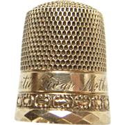 Old 14K Gold Sewing Thimble MARTIE FROM MOTHER Size 7 Child Size Needlework Embroidery Tool
