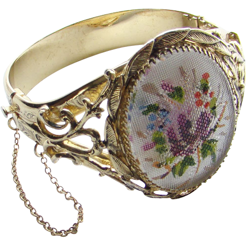 Vintage Whiting & Davis Hinged Bracelet Floral Pettipoint Design Heavy