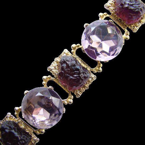 Vintage Amethyst Poured Glass Rhinestone Link Bracelet Chunky