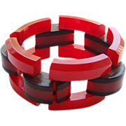 Cherry Red Bakelite Link Bracelet Wood Accent Vintage Fabulous