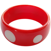 Cherry Red White Spot Lucite Bangle Bracelet Vintage