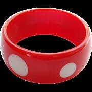 Cherry Red White Spot Lucite Bangle Bracelet Vintage