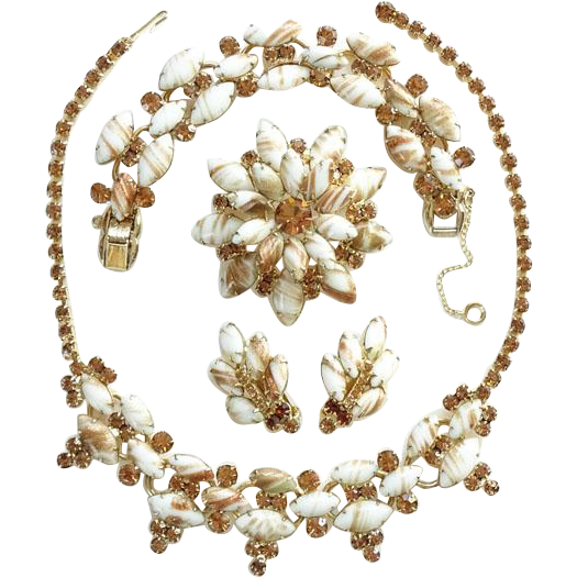 Juliana DeLizza & Elster Grand Parure White and Copper Fluss Rhinestone C1960s