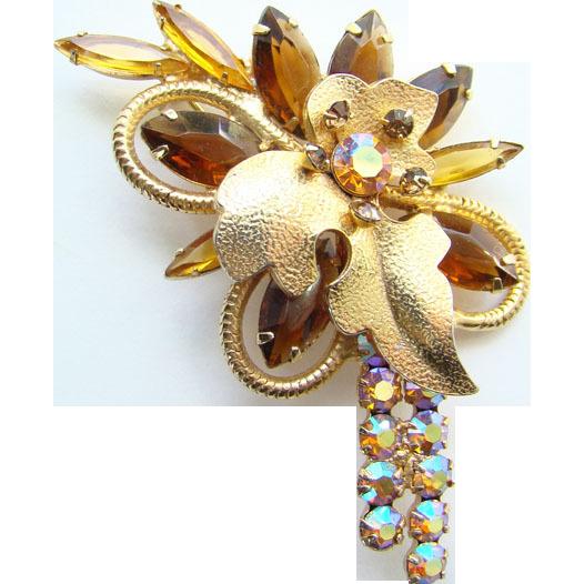 C1962 Juliana DeLizza Elster Topaz Navette Pin Gold Leaf Findings Book Piece