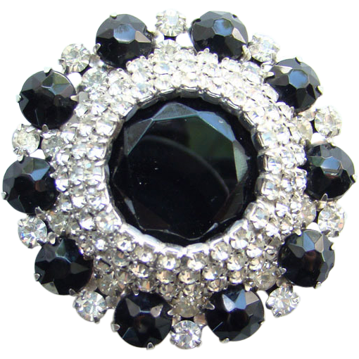 Juliana DeLizza & Elster Black Clear Rhinestone Brooch Elegant C1960s