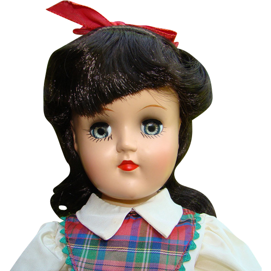 C1949 Ideal Toni Doll Black Hair Plaid Dress Original Box 14 Inch P-90