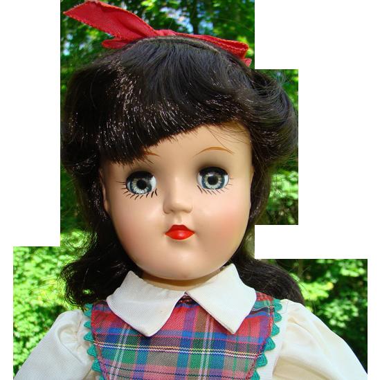C1949 Ideal Toni Doll Black Hair Plaid Dress Original Box 14 Inch P-90