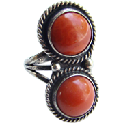 Vintage Navajo Southwestern Red Coral Sterling Silver Ring Size 7