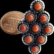 Vintage Zuni Southwestern Red Coral Sterling Silver Ring Size 6.5