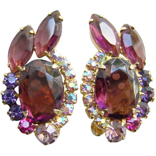 Juliana DeLizza Elster Amethyst AB Rhinestone Clip Earrings