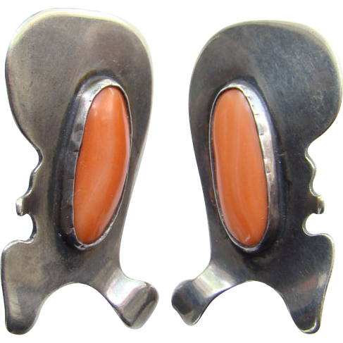 C1950s Mid Century Modernist Clip Earrings Sterling Silver Coral Possibly Sam Kramer Unsigned