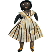 Antique C1915 Black Folk Art Stockinette Cloth Rag Doll 17.5 Inch Embroidered Mouth Teeth Cloth Braids