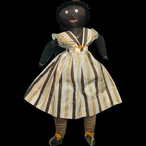 Antique C1915 Black Folk Art Stockinette Cloth Rag Doll 17.5 Inch Embroidered Mouth Teeth Cloth Braids