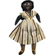 C1900 Black Americana Folk Art Cloth Rag Doll 17.5 Inch Pictured in American Folk Dolls Maine Origin Rare