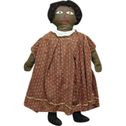 19thC Black Cloth Rag Doll Human Hair Wig Embroidered Face Brown Calico Dress 19 Inch