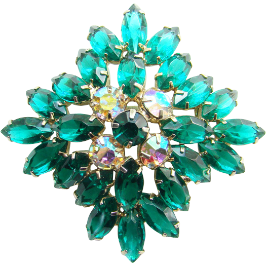 Emerald Green Rhinestone Brooch Pin Vintage Open Back Navettes