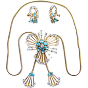 Vintage C1950s M & S 1/20 12K GF Aqua Rhinestone Slide Necklace Earrings Signed