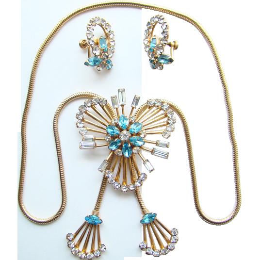 Vintage C1950s M & S 1/20 12K GF Aqua Rhinestone Slide Necklace Earrings Signed