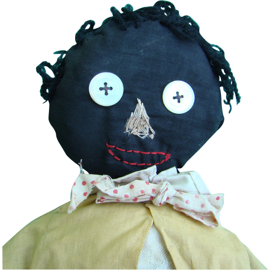 Old Primitive Black Folk Art Cloth Doll Make Do Body C1930 Stitched Face 20 Inch