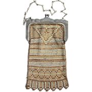 Vintage Flapper Era Whiting and Davis Enameled Art Deco Mesh Bag Beige Tan C1920s