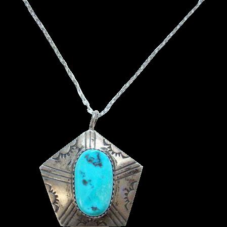 Vintage Navajo Artist Alice Platter Hollow Pentagon Pendant Necklace Sterling Silver Turquoise