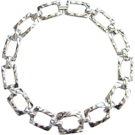 Vintage Chunky Silvertone Geometric Link Necklace Unsigned