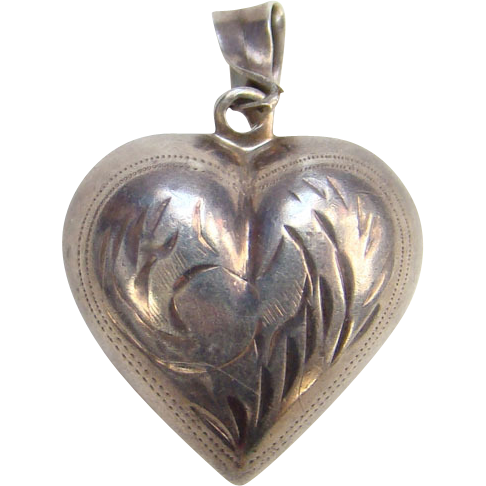 Vintage Sterling Silver Puffy Heart Pendant with Double Sided Etched Design