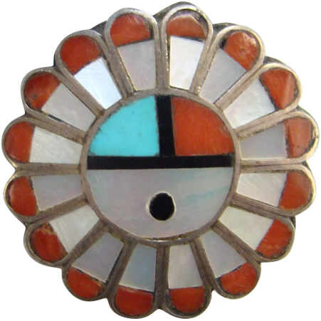 Vintage Zuni Inlaid Pendant Coral Turquoise MOP Onyx