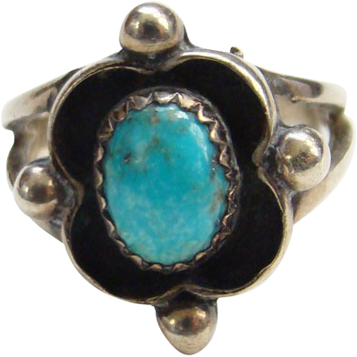 Vintage Southwestern Ring Turquoise Sterling Silver Size 5.5