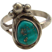 Vintage Navajo Southwestern Turquoise Sterling Silver Nugget Ring Size 8.5 Signed
