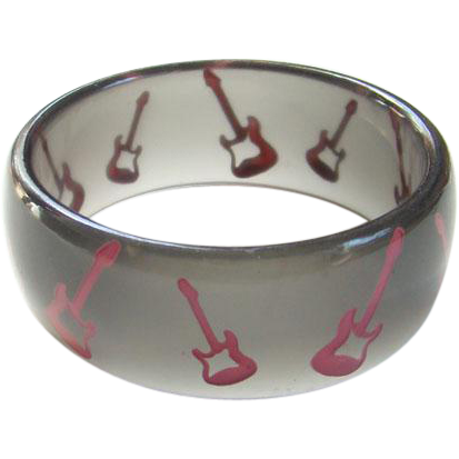 Vintage Smoke Gray Lucite Bangle Bracelet with Pink Electric Guitars Whimsical Costume Jewelry