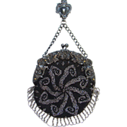 Victorian German Silver Repousse Chatelaine Clip Black Crochet Purse Bag Steel Cut Beads