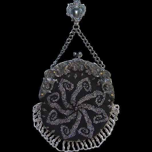 Victorian German Silver Repousse Chatelaine Clip Black Crochet Purse Bag Steel Cut Beads